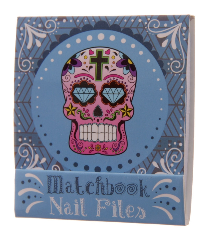lareinase nail file match book day of the dead blue