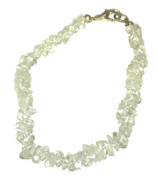 Gemstone Chip Bracelet - Clear Quartz with Metallic Clasp