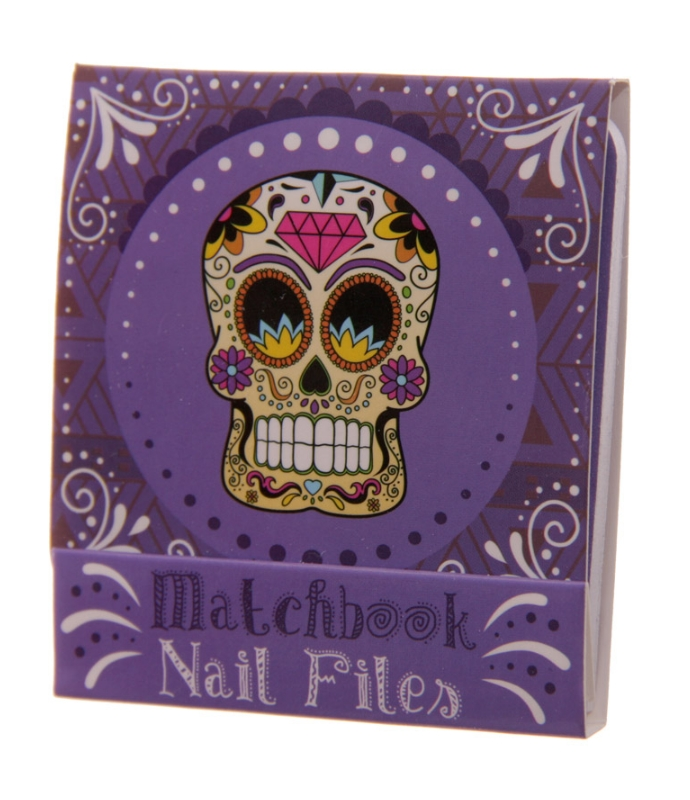 lareinase nail file match book day of the dead purple
