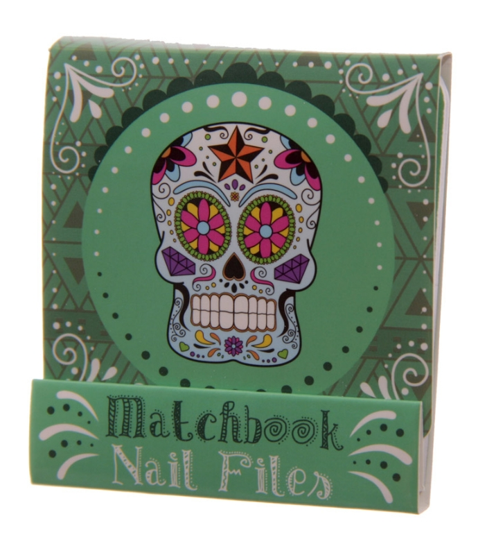 lareinase nail file match book day of the dead green