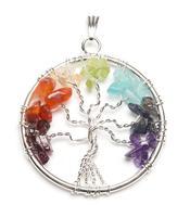 Gemstone Pendant - Tree of Life with Chakra Stones