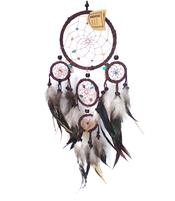 Dreamcatcher Multi 5 Crystals - Brown 12cm