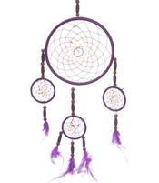 Dreamcatcher Multi 4 Chunky Wood Beads - Purple 16cm