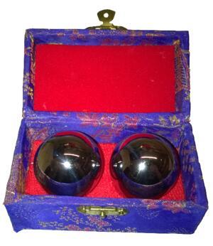 Baoding Balls - Metallic Silver, 40mm