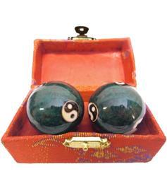 Baoding Balls - Yin Yang Multi, Green 45mm