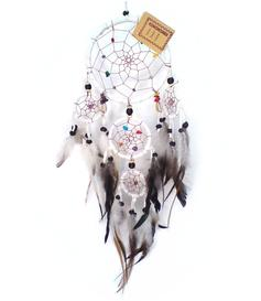 Dreamcatcher Multi 5 Crystals - White 17cm