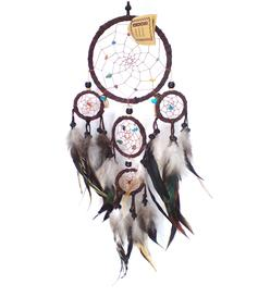 Dreamcatcher Multi 5 Crystals - Brown 17cm