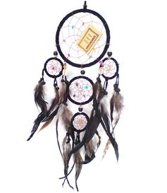 Dreamcatcher Multi 5 Crystals - Black 17cm