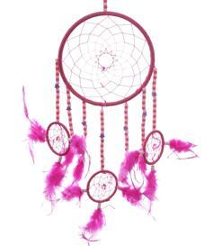 Dreamcatcher Multi 4 Beads and Stars - Cerise 16cm