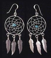 Native American Navajo Jewelry - Silver Dreamcatcher Earrings 25mm