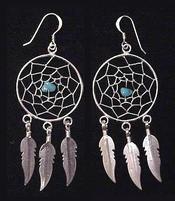 Native American Navajo Jewelry - Silver Dreamcatcher Earrings 30mm